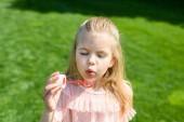 adorable little child blowing soap bubbles in park