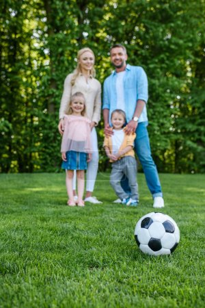 close-up view of soccer ball on grass and happy family standing together in park
