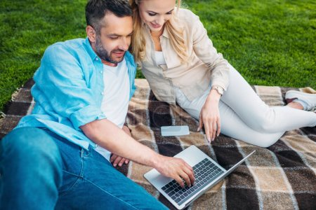 Photo for High angle view of smiling couple using laptop on plaid in park - Royalty Free Image