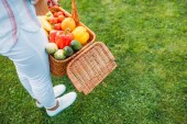cropped shot of woman holding basket with fresh vegetables for picnic in hands on yard