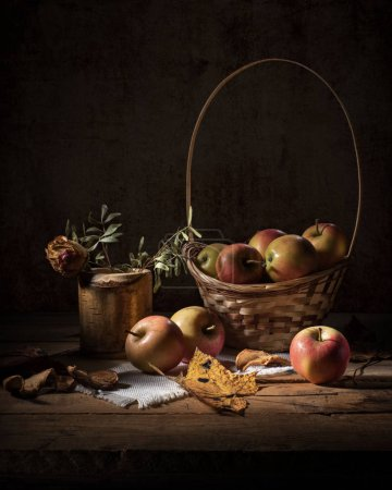 Photo for Apple still life on a dark background - Royalty Free Image