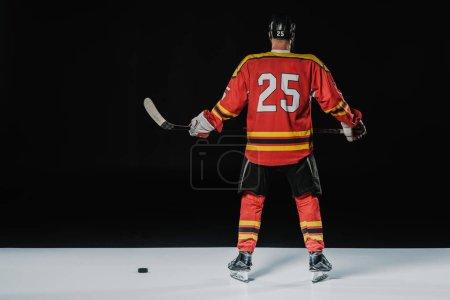 back view of professional ice hockey player holding hockey stick on black