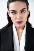 portrait of beautiful glamour lady in black fashionable jacket, isolated on white
