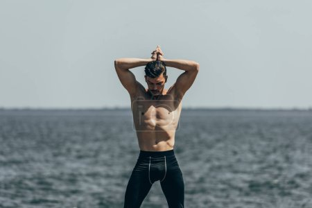 handsome shirtless man posing in front of sea view