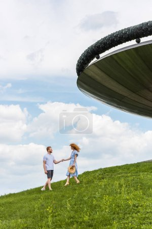 distant view of redhead couple holding hands on grassy hill near building against blue cloudy sky
