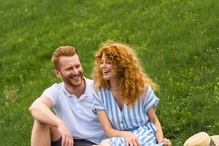 Photo for Laughing redhead woman sitting with boyfriend on grassy meadow - Royalty Free Image