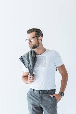 stylish confident man with gray jacket on shoulder, isolated on white