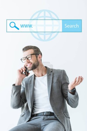 SEO developer talking on smartphone, isolated on white with website search bar