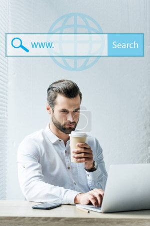 concentrated seo developer holding coffee to go while working with laptop with website search bar