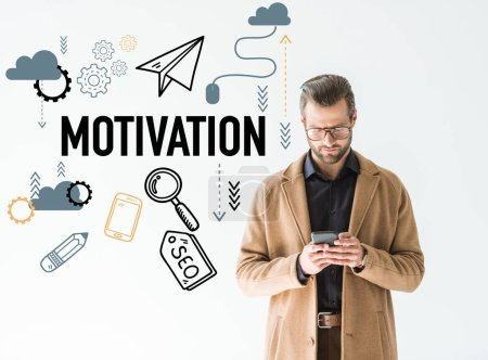 handsome developer in brown coat using smartphone, isolated on white with SEO motivation icons