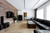 interior view of empty modern living room with sofa and TV set