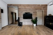 interior view of empty modern living room with TV set