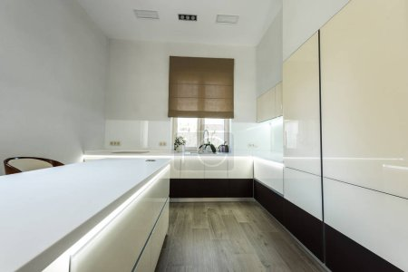 interior view of empty modern kitchen in light colors