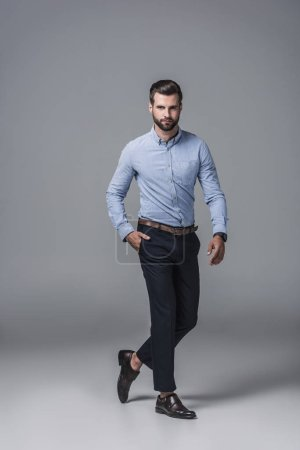 elegant stylish businessman in formal wear, on grey