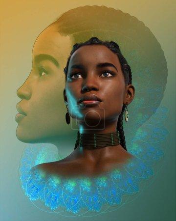Photo pour Graphiques informatiques 3D d'un portrait d'une femme noire confiante - image libre de droit