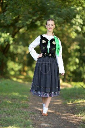 Slovakian folklore dancer woman