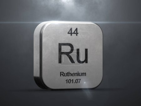 Ruthenium element from the periodic table. Metallic icon 3D rendered with nice lens flare