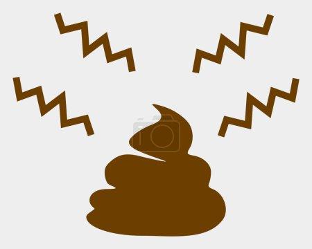 Photo pour Smelly merde raster pictogramme. L'illustration contient le symbole iconique malodorant plat de merde d'isolement sur un fond blanc. - image libre de droit