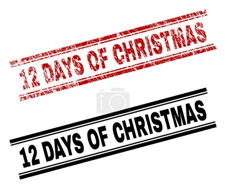 Scratched Textured and Clean 12 DAYS OF CHRISTMAS Stamp Prints