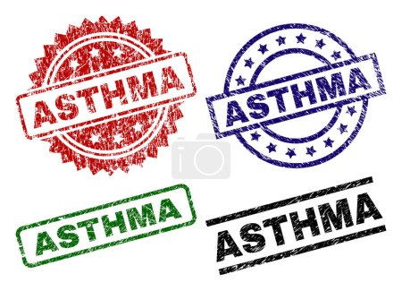Scratched Textured ASTHMA Stamp Seals