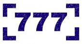 Grunge Textured 777 Stamp Seal Between Corners
