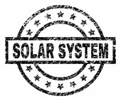 Grunge Textured SOLAR SYSTEM Stamp Seal