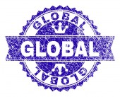 Scratched Textured GLOBAL Stamp Seal with Ribbon