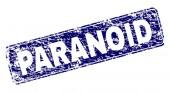 Grunge PARANOID Framed Rounded Rectangle Stamp