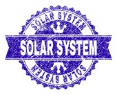Grunge Textured SOLAR SYSTEM Stamp Seal with Ribbon