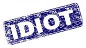 Grunge IDIOT Framed Rounded Rectangle Stamp