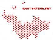 Saint Barthelemy Map - Mosaic of Love Hearts