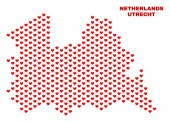 Utrecht Province Map - Mosaic of Valentine Hearts