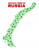 Hemp Leaves Mosaic Novaya Zemlya Islands Map