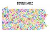 Mosaic Pennsylvania State Map of Cogwheel Elements