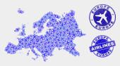 Airflight Mosaic Vector Europe Map and Grunge Seals