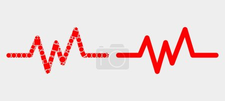 Dotted and flat pulse signal icons. Vector mosaic ...
