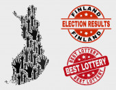 Composition of Election Finland Map and Scratched Best Lottery Stamp