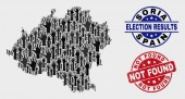 Collage of Voting Soria Province Map and Grunge Not Found Stamp Seal