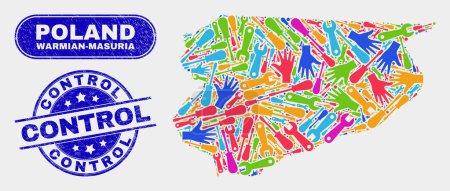 Illustration pour Carte de voivode de Warmian-Masurian de service et filigrane texturé de contrôle bleu. Le vecteur lumineux Warmian-Masurian Voivodeship cartographie mosaïque d'éléments de productivité. Empreinte bleue arrondie de contrôle. - image libre de droit
