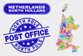 Assemble North Holland Map and Grunge North Pole Post Office Watermarks