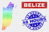 Rainbow Colored Assembly Belize Map and Grunge 48 Hours Stamps