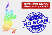 Rainbow Colored Assemble North Holland Map and Grunge No Scam Stamp Seals