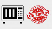 Vector Microwave Oven Icon and Scratched Low Energy Stamp