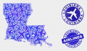 Aviation Mosaic Vector Louisiana State Map and Grunge Stamps