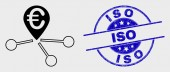 Vector Line Euro Location Links Icon and Grunge ISO Stamp Seal