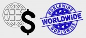 Vector Line Global Business Icon and Grunge Worldwide Seal