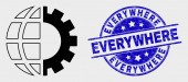 Vector Stroke Global Industry Icon and Distress Everywhere Watermark