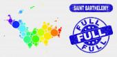 Colored Mosaic Saint Barthelemy Map and Grunge Full Watermark