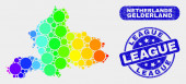 Spectrum Mosaic Gelderland Province Map and Distress League Stamp Seal