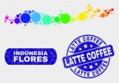 Spectral Mosaic Flores Islands of Indonesia Map and Grunge Latte Coffee Stamp Seal